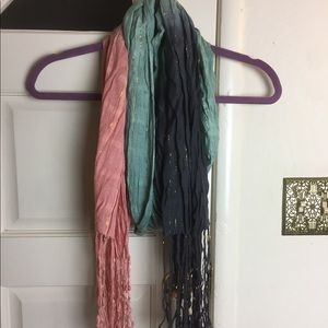 Accessories - Tie-Dye Scarf with Gold Threads